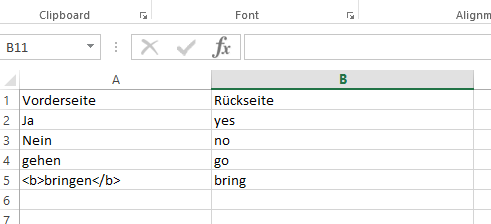 Excel format for the flashcard set Import